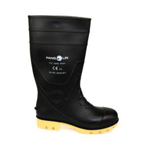 รองเท้าบู๊ท พีวีซี สูง 14 นิ้ว สีดำ ไม่มีหัวเหล็ก