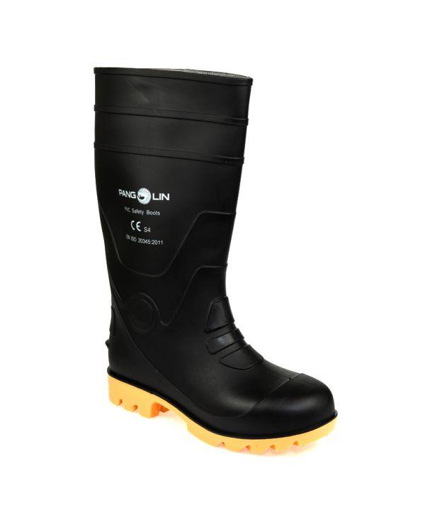 รองเท้าบู๊ท พีวีซี สูง 14 นิ้ว เสริมหัวเหล็ก สีดำ (รองเท้าเซฟตี้ รองเท้านิรภัย)