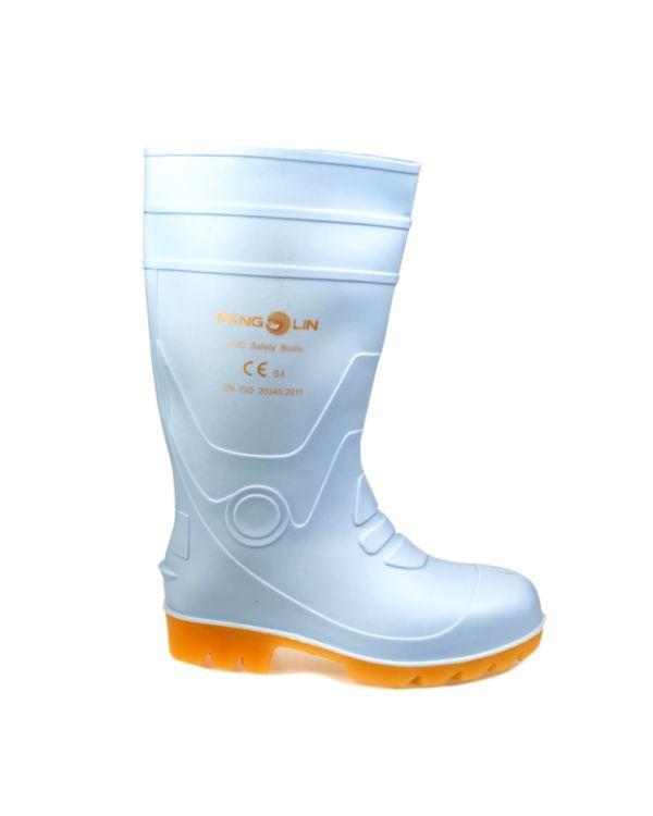 รองเท้าบู๊ท พีวีซี สูง 14 นิ้ว เสริมหัวเหล็ก สีขาว