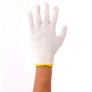 ถุงมือผ้าคอตตอน ขนาดความหนา 700 กรัม(ขอบเหลือง) 12 คู่/โหล