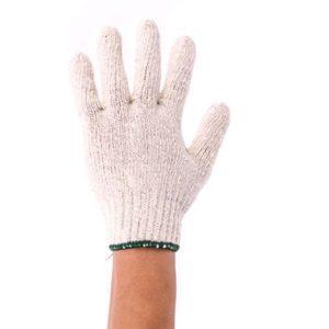 ถุงมือผ้าคอตตอน ขนาดความหนา 500 กรัม(ขอบเขียว) 12 คู่ /โหล