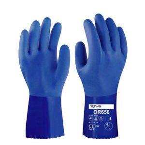 ถุงมือเคลือบพีวีซีกันน้ำมัน ถุงมือกันสารเคมี ยาว 30 ซม.